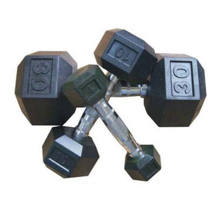 Гантели гексагональные чёрные JAGUAR-SPORT 1-80 кг